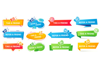 Refer a friend banner. Referral program label, friends recommendation