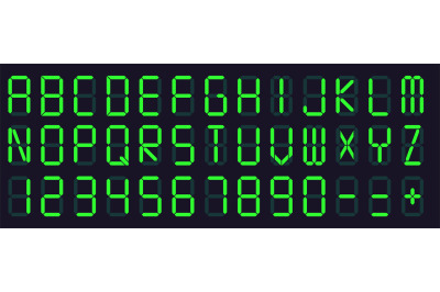 Digital display font. Alarm clock letters and numbers, electronic alph