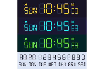 Alarm clock lcd display font. Electronic clocks numbers, digital scree