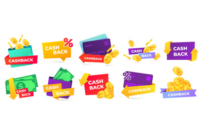 Cashback label. Money refund badges, cash back deal and return coins f