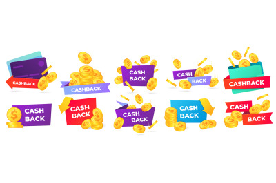 Cashback badges. Money return label, shop sale offers and cash back ba