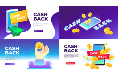 Mobile cashback banner. Golden coins spend back, buying with cashback