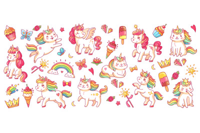 Cute pony and cat unicorns. isolated cartoon vector characters set for