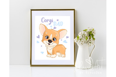 Corgi Dad digital print. 4 sizes. Printable postcard download. Cute co