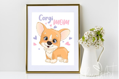 Corgi Mom digital print. 4 sizes. Printable postcard download. Cute co