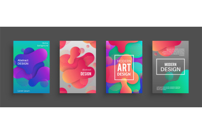 Dynamic form posters. Colored geometric forms and lines. Gradient abst