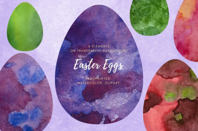 Set Easter eggs with different space texture. Spring Holiday clip art