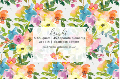 Colorful Watercolor Spring Floral Clip Art Collection