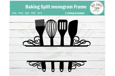 Swirly Baking kitchen split monogram frame SVG,EPS,PDF,DXF,PNG