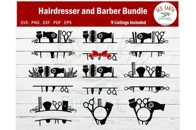 Hair salon hair dresser barber monogram frame bundle SVG,EPS,PDF,DXF,P
