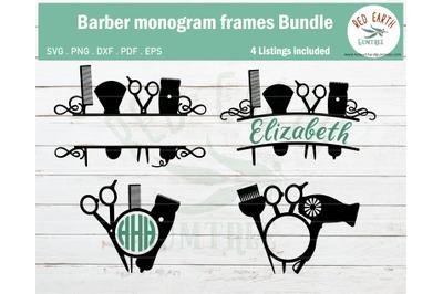 Barber monogram frame bundle SVG,hair dresser monogram frame bundle