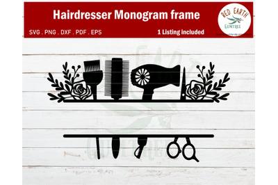 Floral Hairstylist monogram frame bundle SVG,hair dresser monogram SVG