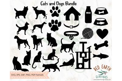 Dog and Cat elements Bundle SVG,EPS,PDF,DXF,PNG
