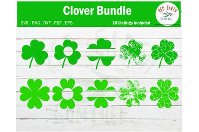 St Patrick's day Shamrock bundle, 4 leaf clover SVG,PNG,DXF,PDF,EPS