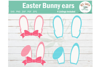 Easter bunny ears SVG, Easter rabbit ears with bow SVG,PNG,DXF,EPS,PDF