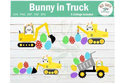 Easter bunny truck bundle SVG,Easter rabbit construction SVG,DXF,PNG