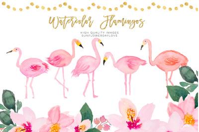 Tropical Watercolor Clipart, Pink Tropical Clipart, Flamingo