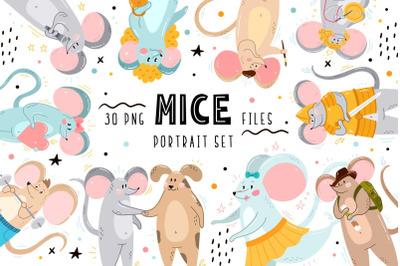 Mice Portrait Set