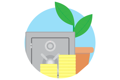 Safety deposit box, contribution growth icon vector