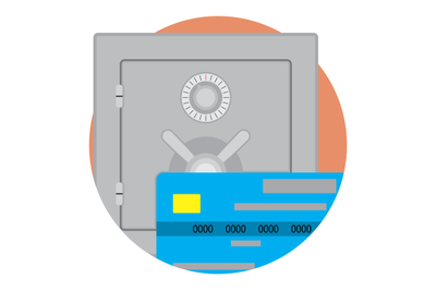 Safe money on credit card icon vector