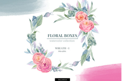 Floral boxes collection. Wreath #1