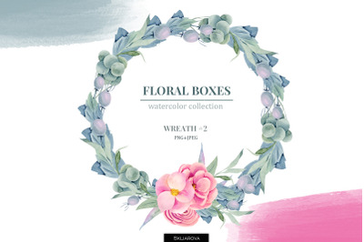 Floral boxes collection. Wreath #2