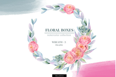 Floral boxes collection. Wreath #3