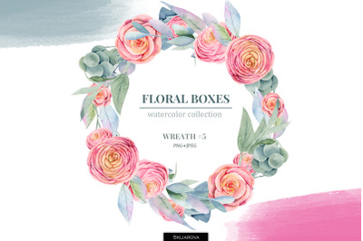 Floral boxes collection. Wreath #5