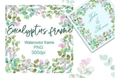 Watercolor frame with eucalyptus. Greens Wedding Decor