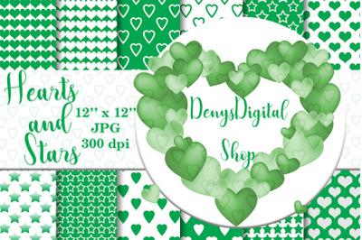 Green heart, stars patterned, green, white, stars, OFF, SALE