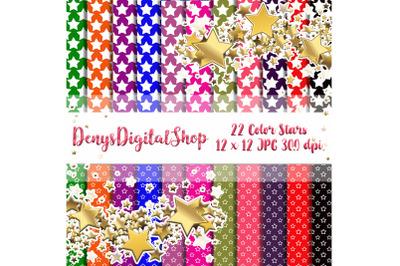 Color Stars, Digital Scrapbook Paper, Stars Patterned