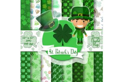 St. Patrick's Day digital paper, St. Patrick's Day