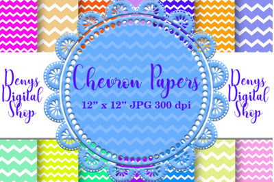 Chevron Digital Paper, Zigzag Digital Paper, Basic
