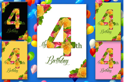 4th Birthday Number Card, Card for Birthday, Kids