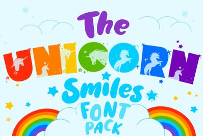 Unicorn Smiles Layered Font plus Bonus Files