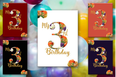 Birthday Card, 3 Years Old, Age 3 Card, 3rd Birthday