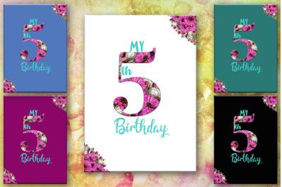 5TH Birthday Card, Number Five, Birthday, Birthday