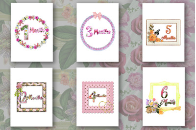 Baby Milestone Printable Cards Months - Flowers-Firt