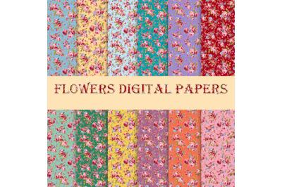Flowers Digital Paper - Scrapbook Papers