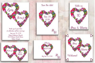 Flower Heart Invitation Card, wedding day, invitation
