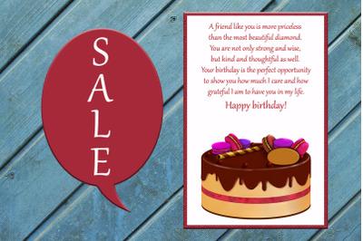 Friends Card, Happy Birthday Card, Cake Card,Birthday