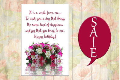 Flowers Birthday Card, Happy Birthday, Flowers Card