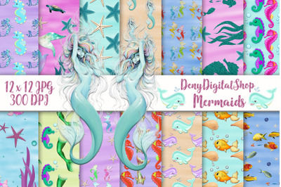Mermaid Digital Paper, Sealife Scrapbook, Seahorse