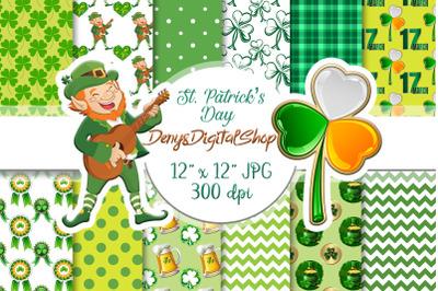 St.Patrick's Day Digital Paper, St Patricks Paper, Scrapbook