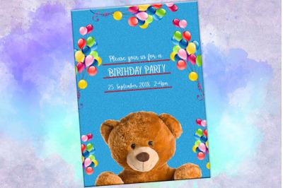 Teddy Bear Invitation, Birthday Card, Birthday Party