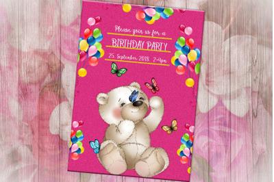 Happy Birthday Invitation Card, Teddy Bear, Birthday