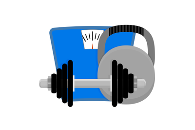 Lose weight. Dumbbells, kettlebell and scales