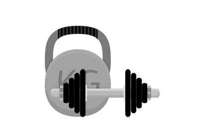 Weightlifting. Kettlebell and dumbbell