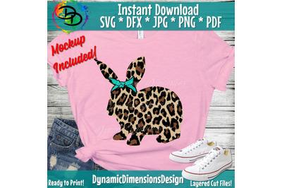 Leopard Print Bunny SVG, Girl Easter Cut File, Rabbit Design, Cute Kid