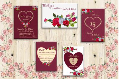 Floral Card, Wedding Card, Invitation Suite, Cards